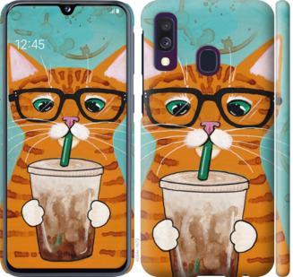 Чехол на Samsung Galaxy A40 2019 A405F Зеленоглазый кот в очках
