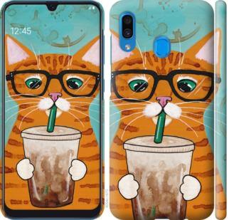 Чехол на Samsung Galaxy A20 2019 A205F Зеленоглазый кот в очках
