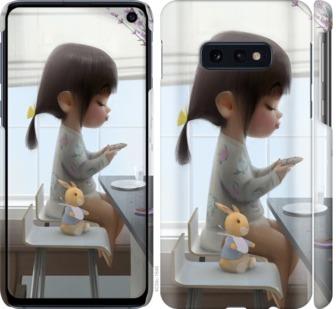 Чехол на Samsung Galaxy S10e Милая девочка с зайчиком