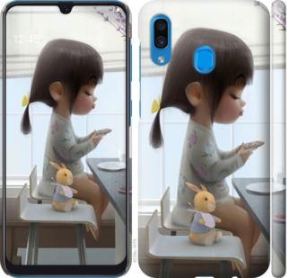 Чехол на Samsung Galaxy A20 2019 A205F Милая девочка с зайчиком