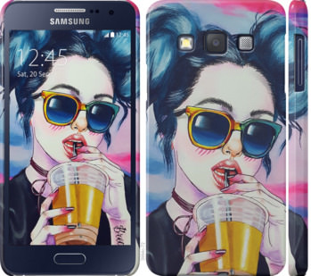 Чехол на Samsung Galaxy A3 A300H Арт-девушка в очках