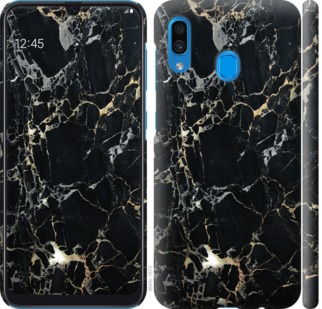 Чехол на Samsung Galaxy A20 2019 A205F Черный мрамор