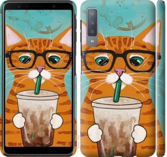 Чехол на Samsung Galaxy A7 (2018) A750F Зеленоглазый кот в очках