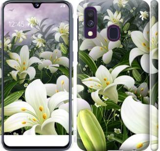 Чехол на Samsung Galaxy A40 2019 A405F Белые лилии
