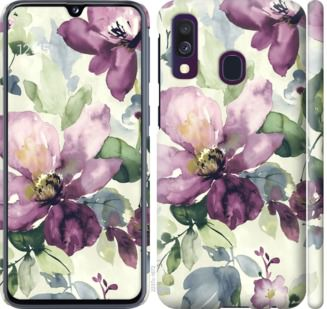 Чехол на Samsung Galaxy A40 2019 A405F Цветы акварелью