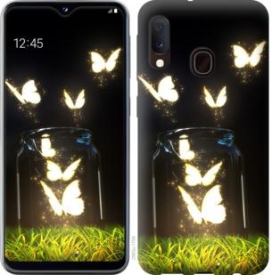 Чехол на Samsung Galaxy A20e A202F Светящиеся бабочки