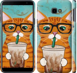 Чехол на Samsung Galaxy J4 Plus 2018 Зеленоглазый кот в очках