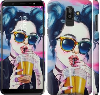 Чехол на Samsung Galaxy J8 2018 Арт-девушка в очках