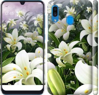 Чехол на Samsung Galaxy A20 2019 A205F Белые лилии