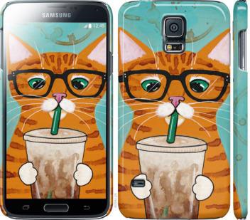 Чехол на Samsung Galaxy S5 g900h Зеленоглазый кот в очках