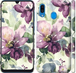 Чехол на Samsung Galaxy A20 2019 A205F Цветы акварелью