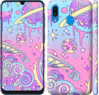 Чехол на Samsung Galaxy A20 2019 A205F Розовая галактика