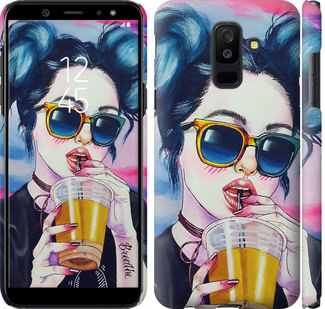 Чехол на Samsung Galaxy A6 Plus 2018 Арт-девушка в очках