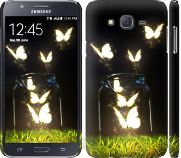 Чехол на Samsung Galaxy J7 J700H Светящиеся бабочки