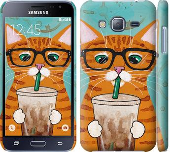 Чехол на Samsung Galaxy J3 Duos (2016) J320H Зеленоглазый кот в очках