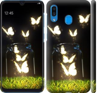 Чехол на Samsung Galaxy A20 2019 A205F Светящиеся бабочки