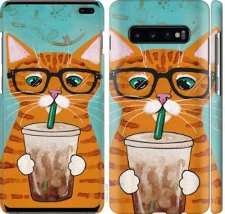 Чехол на Samsung Galaxy S10 Plus Зеленоглазый кот в очках