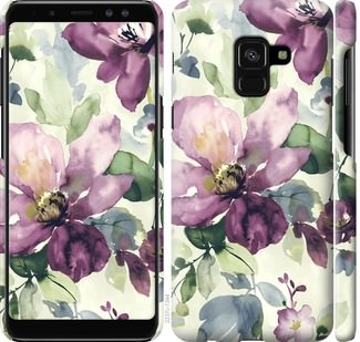 Чехол на Samsung Galaxy A8 2018 A530F Цветы акварелью