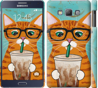 Чехол на Samsung Galaxy A7 A700H Зеленоглазый кот в очках