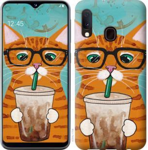 Чехол на Samsung Galaxy A20e A202F Зеленоглазый кот в очках