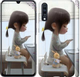 Чехол на Samsung Galaxy A70 2019 A705F Милая девочка с зайчиком