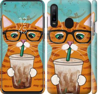 Чехол на Samsung Galaxy A8S Зеленоглазый кот в очках