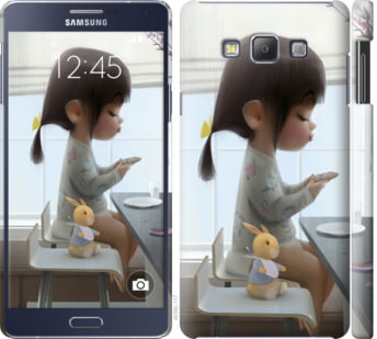 Чехол на Samsung Galaxy A7 A700H Милая девочка с зайчиком