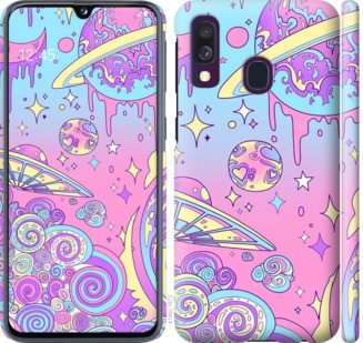 Чехол на Samsung Galaxy A40 2019 A405F Розовая галактика