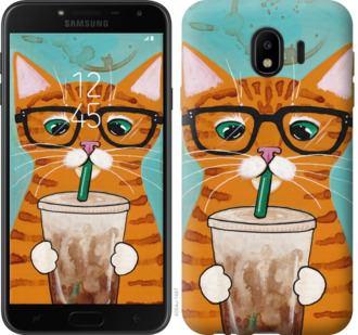 Чехол на Samsung Galaxy J4 2018 Зеленоглазый кот в очках