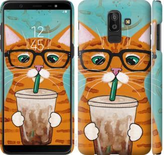 Чехол на Samsung Galaxy J8 2018 Зеленоглазый кот в очках