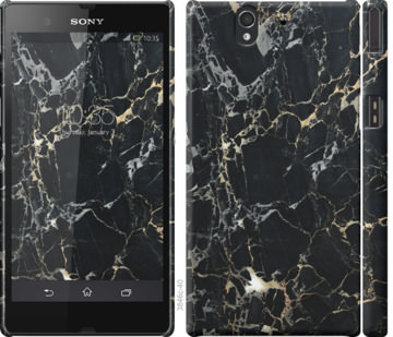 Чехол на Sony Xperia Z C6602 Черный мрамор
