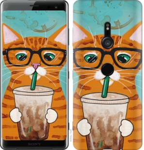 Чехол на Sony Xperia XZ3 H9436 Зеленоглазый кот в очках