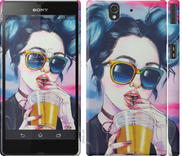 Чехол на Sony Xperia Z C6602 Арт-девушка в очках