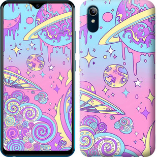 Чехол на Vivo Y91C Розовая галактика