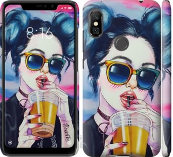 Чехол на Xiaomi Redmi Note 6 Pro Арт-девушка в очках