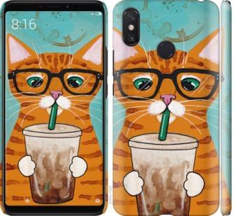 Чехол на Xiaomi Mi Max 3 Зеленоглазый кот в очках