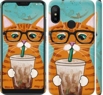 Чехол на Xiaomi Redmi 6 Pro Зеленоглазый кот в очках