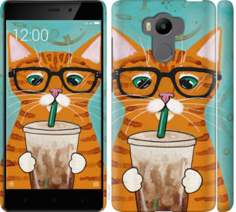 Чехол на Xiaomi Redmi 4 pro Зеленоглазый кот в очках