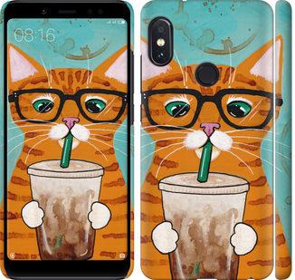 Чехол на Xiaomi Redmi Note 5 Pro Зеленоглазый кот в очках