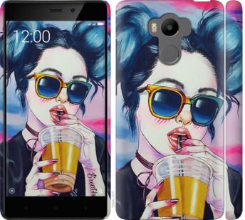 Чехол на Xiaomi Redmi 4 pro Арт-девушка в очках
