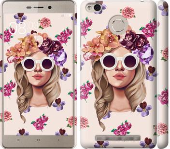 Чехол на Xiaomi Redmi 3s Девушка с цветами v2