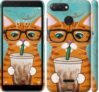 Чехол на Xiaomi Redmi 6 Зеленоглазый кот в очках