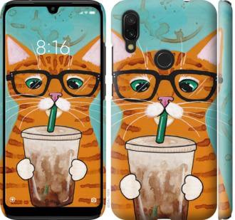 Чехол на Xiaomi Redmi 7 Зеленоглазый кот в очках
