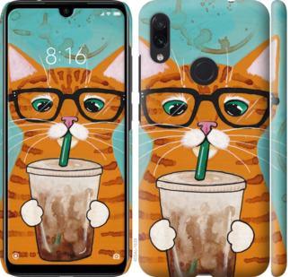 Чехол на Xiaomi Redmi Note 7 Зеленоглазый кот в очках