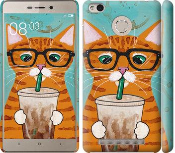 Чехол на Xiaomi Redmi 3 Pro Зеленоглазый кот в очках