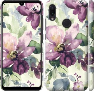 Чехол на Xiaomi Redmi Note 7 Цветы акварелью